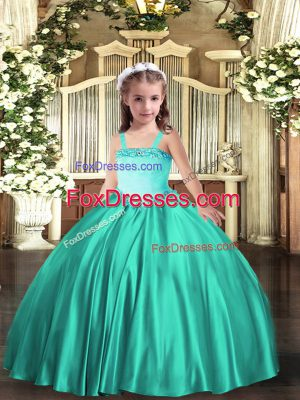 Nice Turquoise Sleeveless Appliques Floor Length Kids Formal Wear