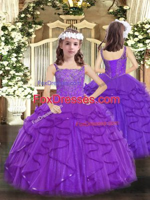 Enchanting Tulle Sleeveless Floor Length Pageant Dress for Girls and Beading and Ruffles