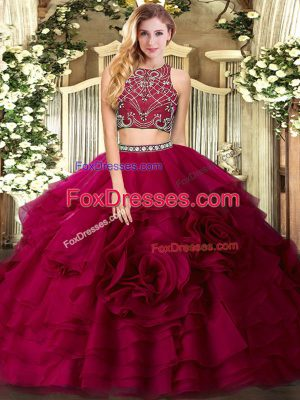Hot Selling Sleeveless Floor Length Beading and Ruffled Layers Zipper Sweet 16 Dress with Fuchsia
