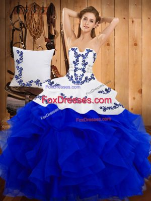 Suitable Embroidery Ball Gown Prom Dress Blue Lace Up Sleeveless Floor Length