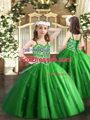 Attractive Green Little Girl Pageant Gowns Party and Quinceanera with Beading and Appliques Straps Sleeveless Lace Up