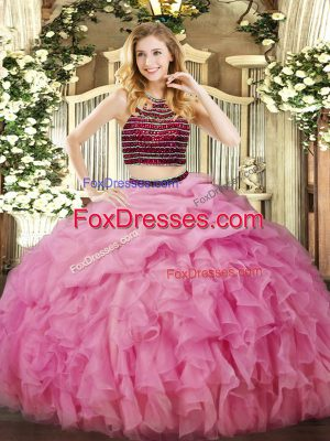 Rose Pink Organza Zipper Halter Top Sleeveless Floor Length Sweet 16 Dress Beading and Ruffles