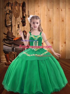 Turquoise Mermaid Straps Sleeveless Organza Floor Length Lace Up Embroidery and Ruffles Little Girls Pageant Gowns