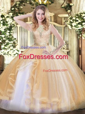 Organza Scoop Sleeveless Backless Lace and Ruffles Quince Ball Gowns in Champagne