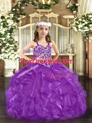 Classical Purple Girls Pageant Dresses Party and Quinceanera with Beading Straps Sleeveless Lace Up