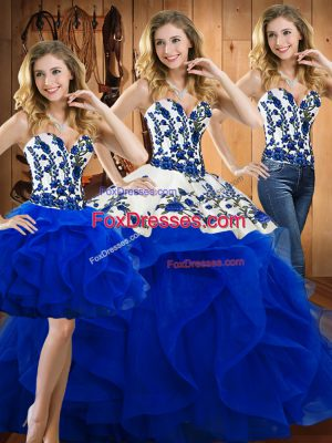 Sleeveless Floor Length Embroidery and Ruffles Lace Up Quince Ball Gowns with Blue