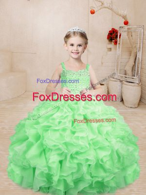 Amazing Apple Green Sleeveless Floor Length Beading and Ruffles Lace Up Little Girls Pageant Dress