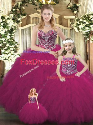 Glorious Sleeveless Floor Length Beading and Ruffles Lace Up Quinceanera Dress with Fuchsia