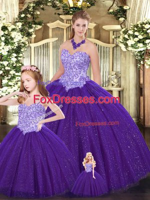 Tulle Sweetheart Sleeveless Lace Up Beading Quince Ball Gowns in Purple