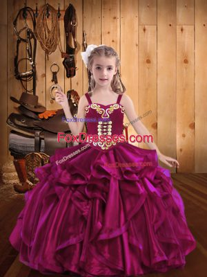 Amazing Fuchsia Sleeveless Organza Lace Up Pageant Dress for Womens for Sweet 16 and Quinceanera