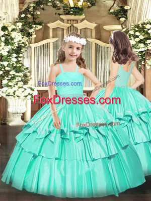 Straps Sleeveless High School Pageant Dress Floor Length Beading and Lace Turquoise Organza