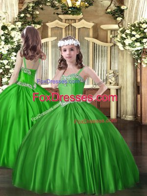 High Class Green Ball Gowns Straps Sleeveless Satin Floor Length Lace Up Beading Kids Formal Wear