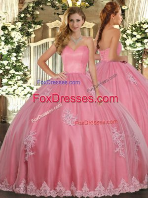 Tulle Sleeveless Floor Length Quinceanera Dresses and Beading and Appliques