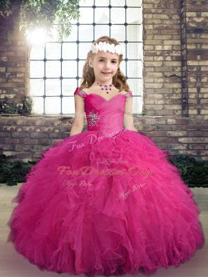 Fuchsia Ball Gowns Tulle Straps Sleeveless Beading and Ruffles Floor Length Lace Up Kids Formal Wear