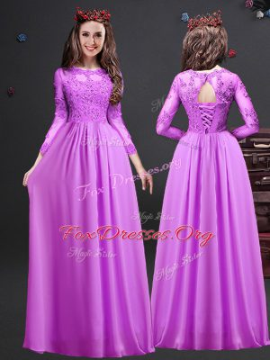 Free and Easy Scoop Long Sleeves Lace Up Wedding Party Dress Lilac Chiffon