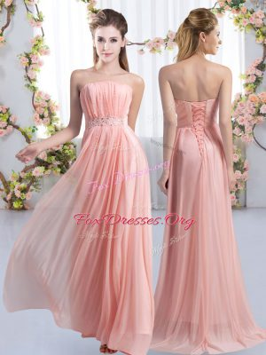 Ideal Pink Dama Dress Strapless Sleeveless Sweep Train Lace Up