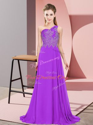Most Popular Purple Empire Chiffon One Shoulder Sleeveless Beading Floor Length Side Zipper Prom Party Dress