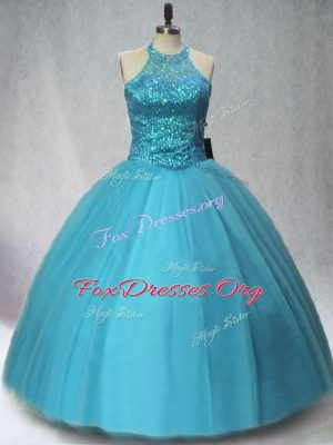 Teal Tulle Lace Up Ball Gown Prom Dress Sleeveless Floor Length Beading