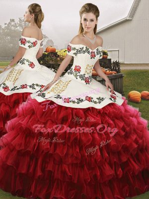 Elegant Wine Red Organza Lace Up Off The Shoulder Sleeveless Floor Length Quinceanera Gown Embroidery and Ruffled Layers