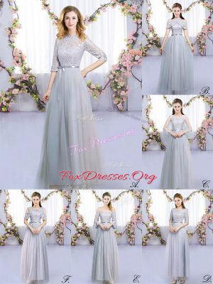 High Class Grey Half Sleeves Lace and Belt Floor Length Quinceanera Court Dresses