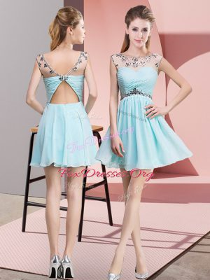 Cute Sleeveless Mini Length Beading and Ruching Backless Prom Dresses with Light Blue