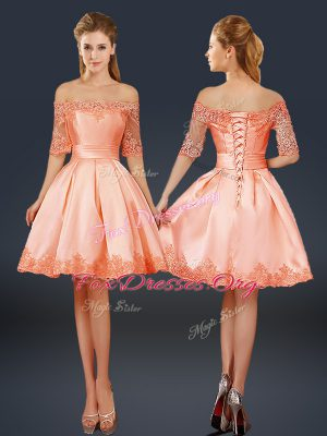 Mini Length Peach Cocktail Dresses Off The Shoulder Half Sleeves Lace Up