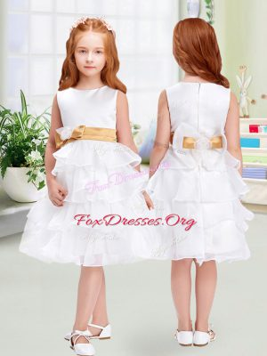 Organza Scoop Sleeveless Zipper Ruffled Layers and Bowknot Flower Girl Dress in White