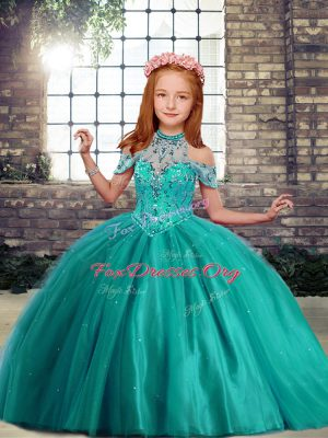 Custom Designed Tulle High-neck Sleeveless Lace Up Beading Little Girl Pageant Dress in Turquoise