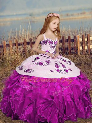 Fuchsia Ball Gowns Straps Sleeveless Organza Floor Length Lace Up Embroidery and Ruffles Custom Made Pageant Dress