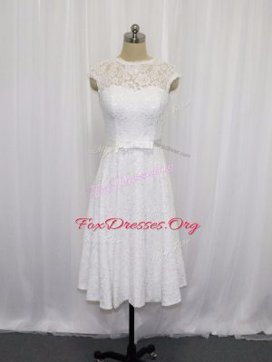 Best Selling White Lace Lace Up Wedding Gowns Sleeveless Tea Length Lace and Belt