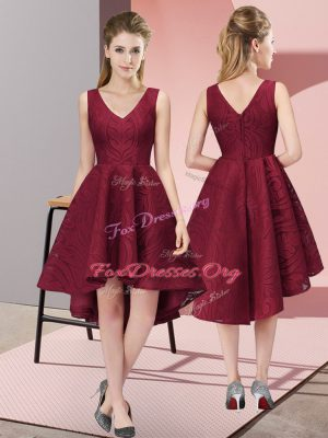 Burgundy V-neck Neckline Lace Bridesmaid Gown Sleeveless Zipper