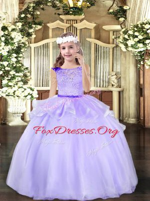 On Sale Floor Length Mermaid Sleeveless Lavender Little Girl Pageant Gowns Zipper