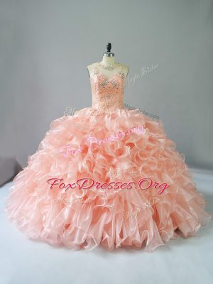 Modest Peach Organza Lace Up Ball Gown Prom Dress Sleeveless Beading and Ruffles