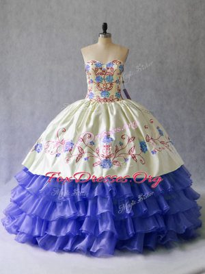 Most Popular Blue Satin and Organza Lace Up Sweetheart Sleeveless Floor Length Quinceanera Gowns Beading and Embroidery