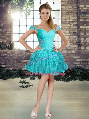 High End Sleeveless Organza Mini Length Lace Up Cocktail Dresses in Aqua Blue with Beading and Ruffles