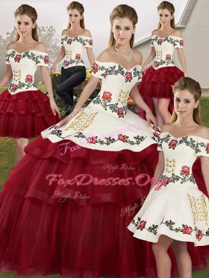Wine Red Sleeveless Tulle Brush Train Lace Up Sweet 16 Dresses for Military Ball and Sweet 16 and Quinceanera