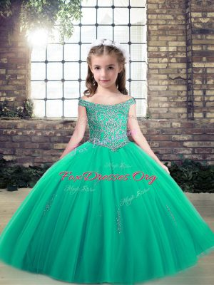 On Sale Turquoise Off The Shoulder Lace Up Appliques Kids Formal Wear Sleeveless