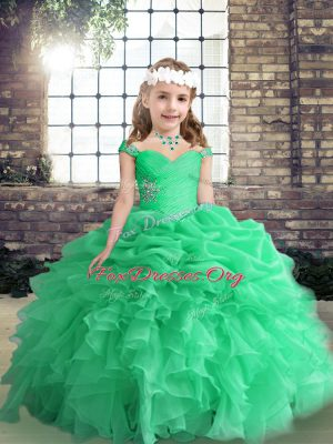 Straps Sleeveless Kids Formal Wear Floor Length Beading and Ruffles and Pick Ups Apple Green Organza