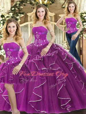 Simple Floor Length Purple Quinceanera Dresses Tulle Sleeveless Beading and Ruffles
