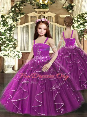 Tulle Straps Sleeveless Lace Up Ruffles High School Pageant Dress in Purple