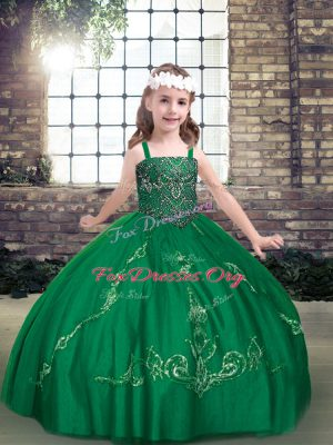Sleeveless Tulle Floor Length Lace Up Child Pageant Dress in Dark Green with Beading