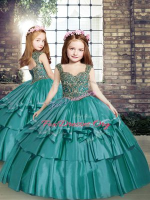 Ball Gowns Child Pageant Dress Teal Straps Taffeta Sleeveless Floor Length Lace Up