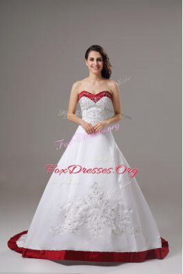 Sweetheart Sleeveless Satin Wedding Gown Beading and Embroidery Brush Train Lace Up