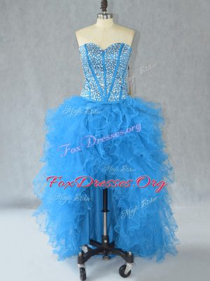 Decent Aqua Blue Sleeveless Beading and Ruffles High Low Dress for Prom