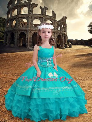 New Arrival Floor Length Zipper Little Girls Pageant Dress Wholesale Aqua Blue for Wedding Party with Embroidery and Ruffled Layers