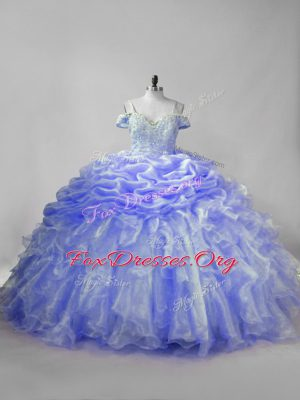 Most Popular Organza Straps Sleeveless Brush Train Lace Up Beading and Ruffles and Pick Ups Vestidos de Quinceanera in Lavender and Purple