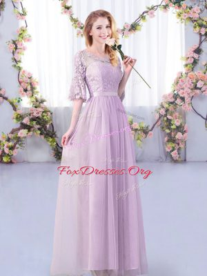 Most Popular Lavender Half Sleeves Lace and Belt Floor Length Quinceanera Dama Dress
