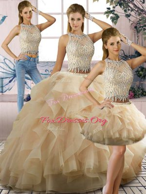 Champagne Sleeveless Beading and Ruffles Floor Length Quinceanera Gowns