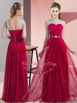 Flare Sleeveless Lace Up Floor Length Beading and Belt Dama Dress