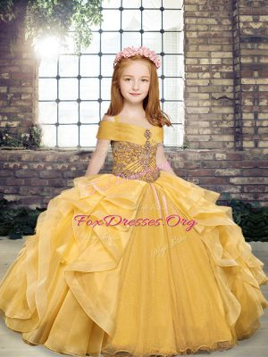 Superior Floor Length Lace Up Girls Pageant Dresses Gold for Party and Sweet 16 and Wedding Party with Beading and Ruffles